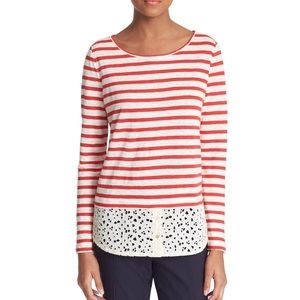 NWOT Tory Burch Striped Eyelet Tee